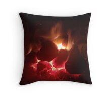 Warming Fire Throw Pillow