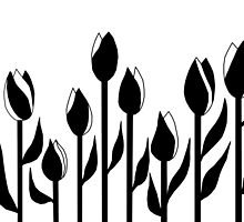 Black and White Tulips Design by LifeisDelicious