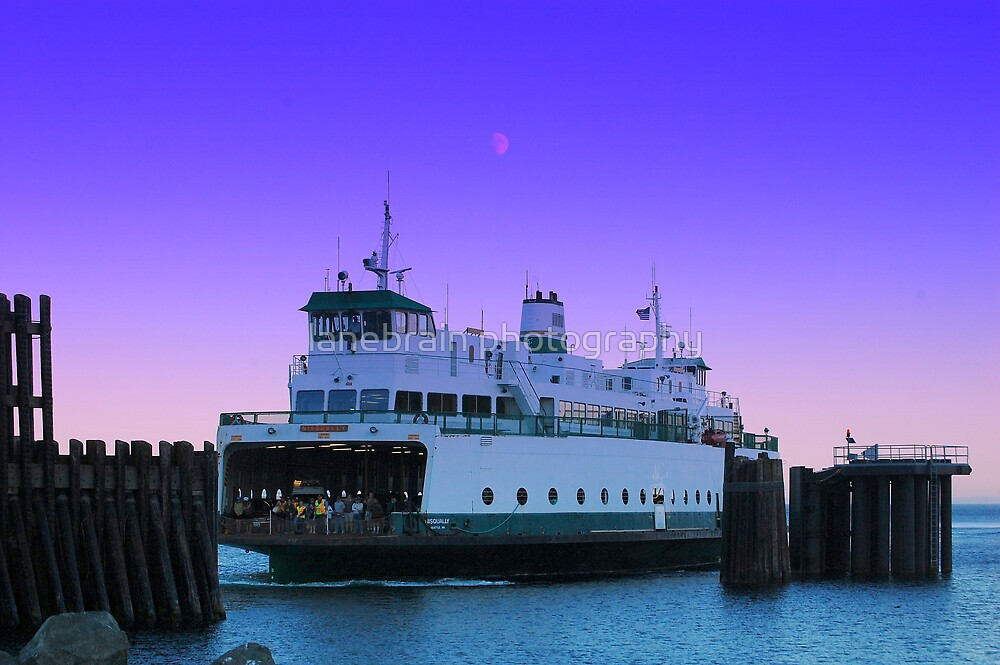 Ferry and Moon by lanebrain photography