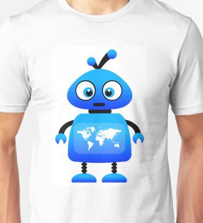 blue robot world travel Unisex T-Shirt