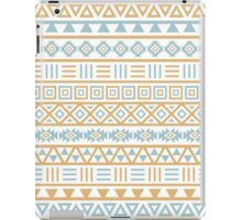 Aztec Influence Pattern II Blue and Gold on White iPad Case/Skin