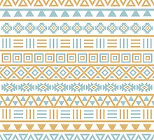 Aztec Influence Pattern II Blue and Gold on White by NataliePaskell