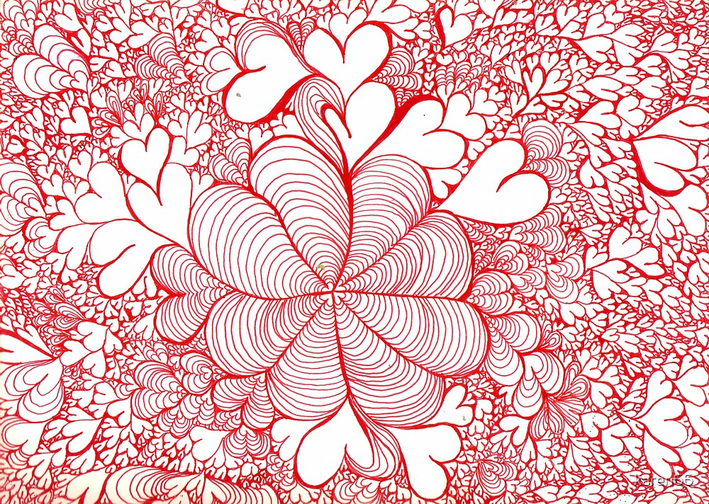Red Abstract With Hearts by karen66