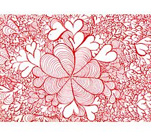 Red Abstract With Hearts Photographic Print