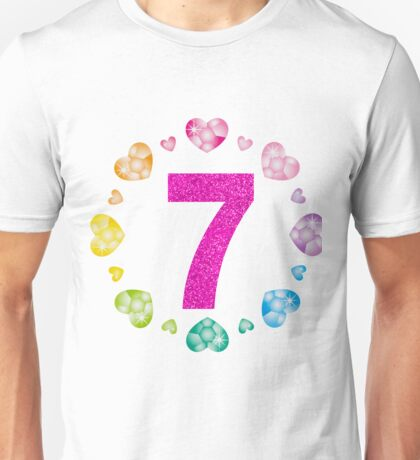 7th Birthday For Girls Shiny Hearts Princess Seven Unisex T-Shirt
