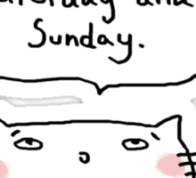 'I really need a day between Saturday & Sunday' / Cat doodle Sticker