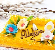 Catkins and yellow decorative Easter cake  by Arletta Cwalina