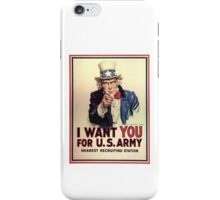 I Want You! Uncle Sam Wants You, USA, War, Recruitment Poster iPhone Case/Skin