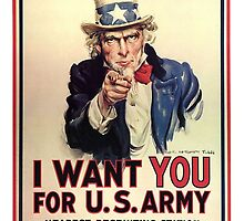 I Want You! Uncle Sam Wants You, USA, War, Recruitment Poster by TOM HILL - Designer