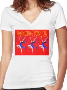 DANCING FOR JOY Women's Fitted V-Neck T-Shirt
