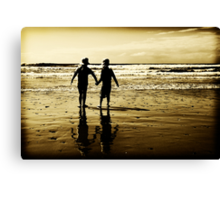 Louis and Holly at the beach... Canvas Print