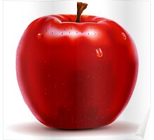 Red Apple Isolated on White Poster