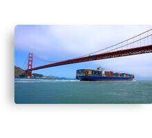 Commerce.- Cargo ship under the Golden Gate Bridge, San Francisco, California Canvas Print