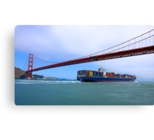 Commerce.- Cargo ship under the Golden Gate Bridge, San Francisco, California Canvas Print