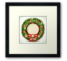 Wreath Christmas with Red Ribbon Framed Print