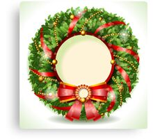 Wreath Christmas with Red Ribbon Canvas Print