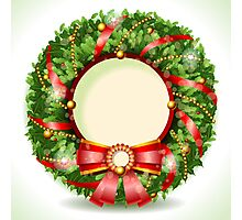 Wreath Christmas with Red Ribbon Photographic Print