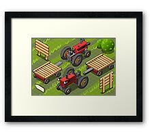 Isometric Red Farm Tractor in Two Positions Framed Print