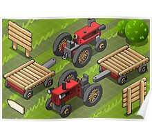 Isometric Red Farm Tractor in Two Positions Poster