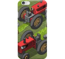 Isometric Red Farm Tractor in Two Positions iPhone Case/Skin