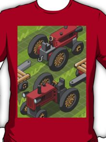 Isometric Red Farm Tractor in Two Positions T-Shirt
