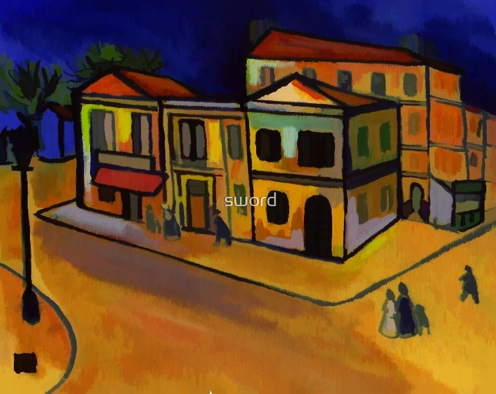 Van Goghs house at arles (from my original acrylic painting) digitally enhanced) by sword