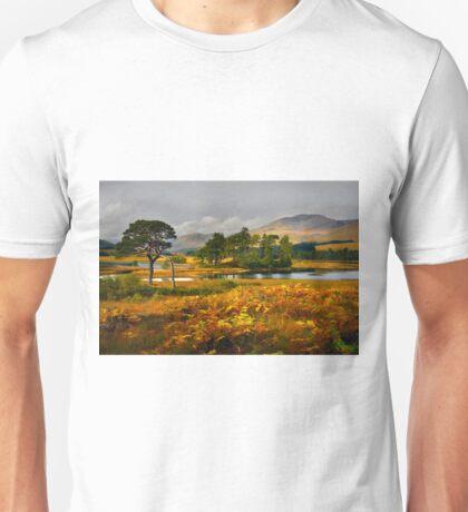 Grey skies over Loch Tulla Unisex T-Shirt