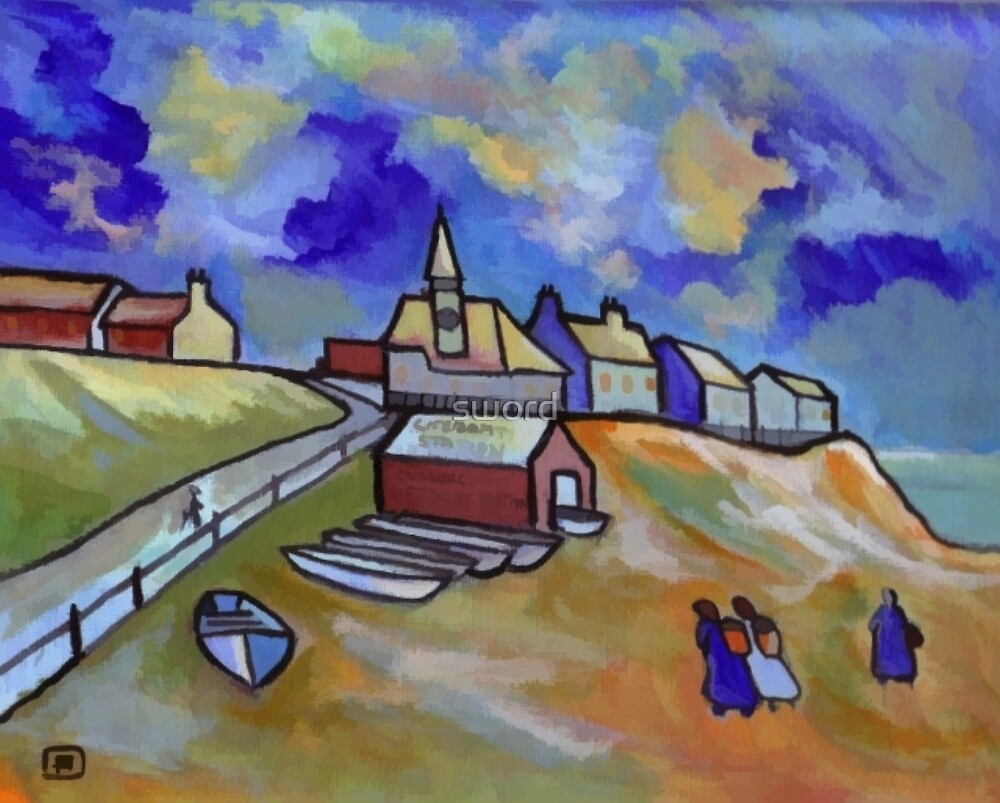 The lifeboat station from my original acrylic painting digitally enhanced) by sword