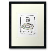 Eat drink sleep / Cat doodle Framed Print