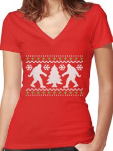 Ugly Holiday Bigfoot Christmas Sweater Women's Fitted V-Neck T-Shirt