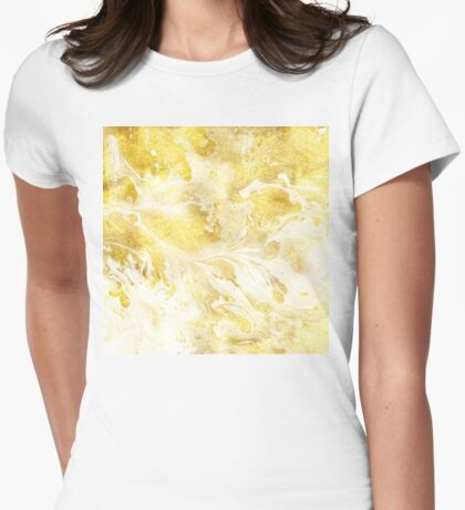 Golden Marble I gold and white abstract art Womens Fitted T-Shirt