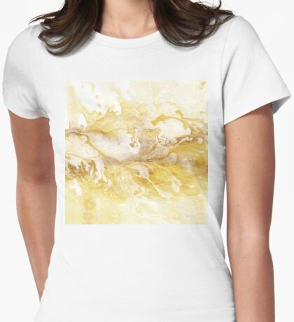 Golden Marble II gold and white abstract art Womens Fitted T-Shirt