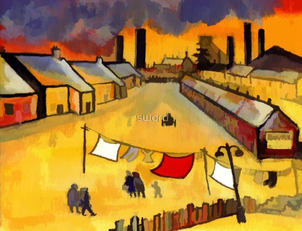 A northern industrial town (from my original acrylic painting) digitally enhanced) by sword