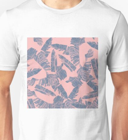Navy Blue Coral Pink Banana Leaves Pattern Unisex T-Shirt