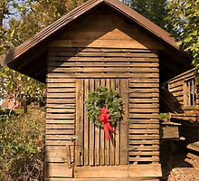 Christmas Wreath on Old Shack by dbvirago