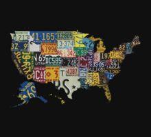 USA vintage license plates map Kids Tee