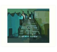 The steps ( from my original acrylic painting digitally enhanced) Art Print