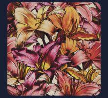 Daylily Drama - a floral illustration pattern One Piece - Long Sleeve