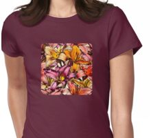 Daylily Drama - a floral illustration pattern Womens Fitted T-Shirt