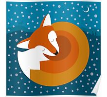 Sleeping Fox in Winter Poster