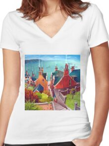 Sea houses. Gardenstown. Women's Fitted V-Neck T-Shirt