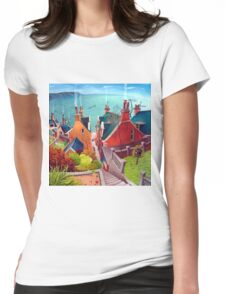 Sea houses. Gardenstown. Womens Fitted T-Shirt