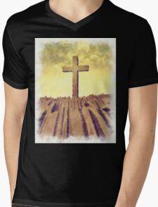 Christian Cross On Mountain Mens V-Neck T-Shirt