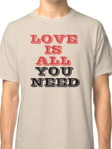 The Beatles Song Lyrics Famous All You Need Is Love Peace Rock Music Classic T-Shirt