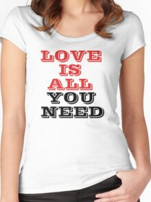 The Beatles Song Lyrics Famous All You Need Is Love Peace Rock Music Women's Fitted Scoop T-Shirt
