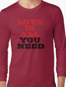 The Beatles Song Lyrics Famous All You Need Is Love Peace Rock Music Long Sleeve T-Shirt