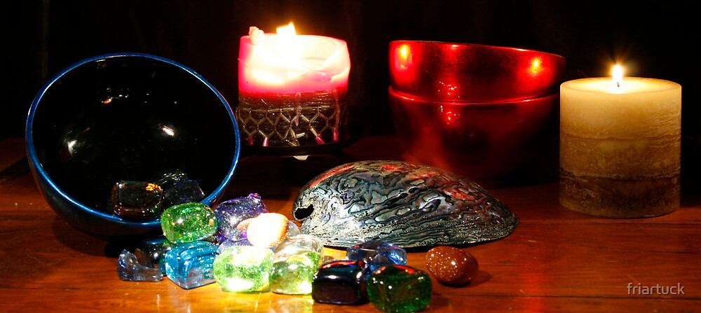 Abalone shell with candles by friartuck