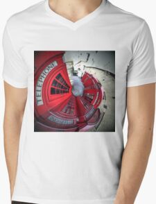 Telephone boxes in a spin Mens V-Neck T-Shirt