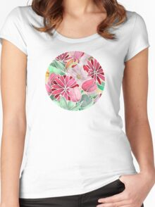 Blossoming - a hand drawn floral pattern Women's Fitted Scoop T-Shirt