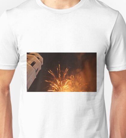 Vilnius Cathedral and fireworks Unisex T-Shirt